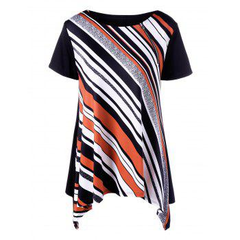 Plus Size Inclined Zip Asymmetrical T-Shirt