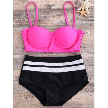 High Waisted Straps Push Up Bikini