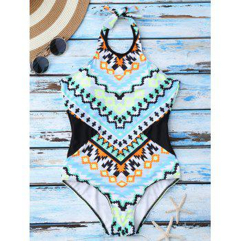 Geometrical Print One Piece Cute High Neck Swimsuits