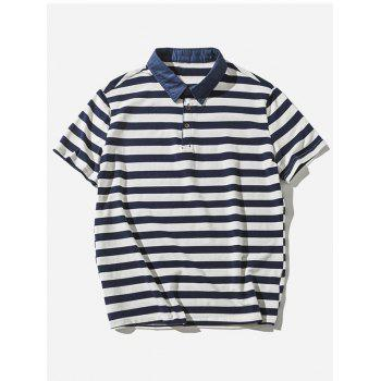 Striped Polo Shirt - BLUE 2XL