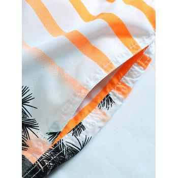 Striped Coconut Tree Shorts Print Board - Orange L
