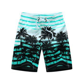Striped Coconut Tree Print Board Shorts