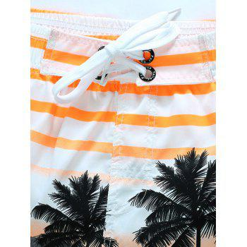 Striped Coconut Tree Shorts Print Board - Jaune 4XL