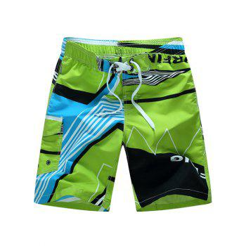 Graphic Printed Color Block Board Shorts