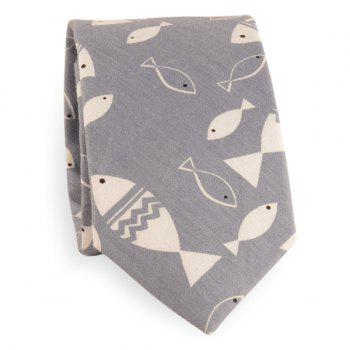 Handpainted Fish Print Cotton Blend Tie