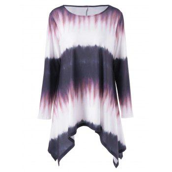 Plus Size Tie Dye Long Sleeve Ombre Asymmetrical T-Shirt