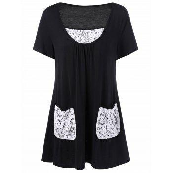 Plus Size Lace Trim T-Shirt with Pockets
