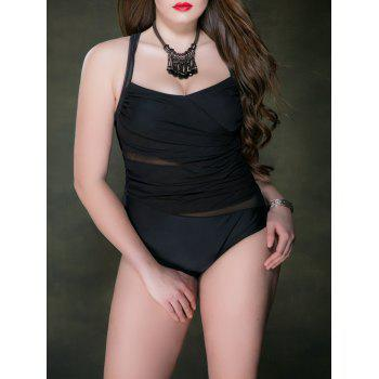 Plus Size Criss Cross Mesh Ruched One Piece Swimsuit