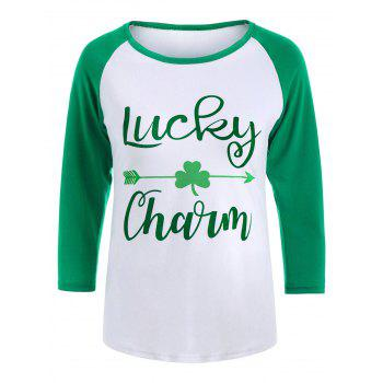 Graphic Three Leaf Clover Raglan Sleeve Tee