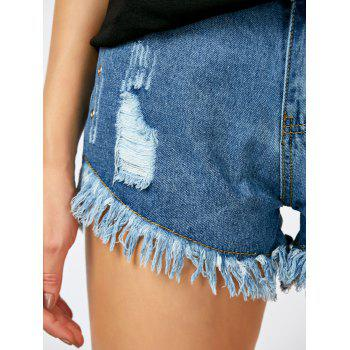 Fringed Distressed High Rise Shorts - BLUE S
