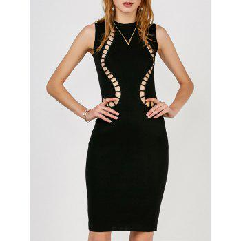 Hollow Out Sleeveless Jumper Dress - BLACK ONE SIZE