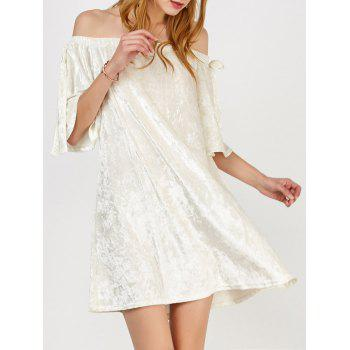 Casual Off The Shoulder Velvet Cream Dress