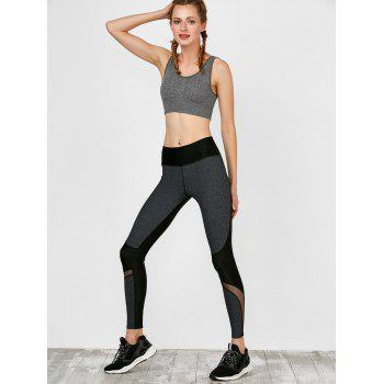 Colorblock Mesh Panel Leggings - M M