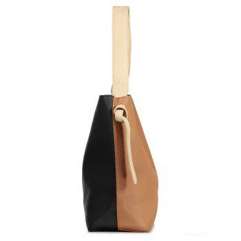 Casual Color Block Shoulder Bag with Pouch Bag - BROWN