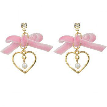 Fake Pearl Velvet Bowknot Heart Drop Earrings