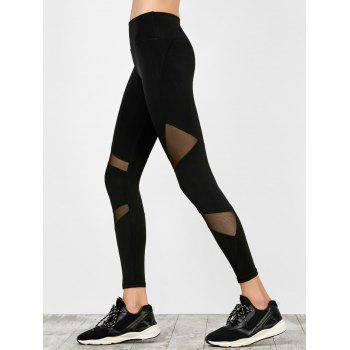 High Waist Mesh Panel Yoga Leggings