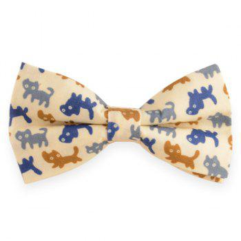 Adjustable Cartoon Cat Print Bow Tie