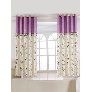 Rattan Bird Print Blackout Curtain For Living Room