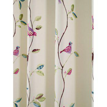 Rattan Bird Print Blackout Curtain For Living Room - SKY BLUE 100*200CM