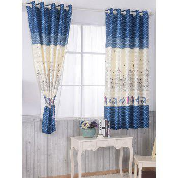 Window Shading Blackout Curtain Panel For Bedroom - BLUE 100*200CM