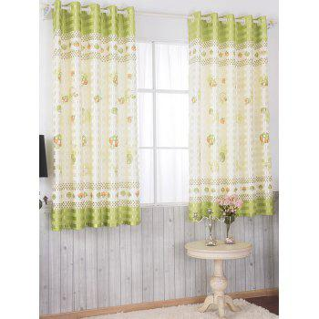 Mushroom Printed Shade Grommet Top Blackout Curtain - YELLOW GREEN 100*200CM