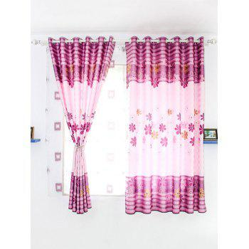 Floral Print Shading Blackout Curtain For Bedroom