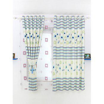Floral Stripe Printing Shade Door Window Curtain Panel - BLUE 100*200CM