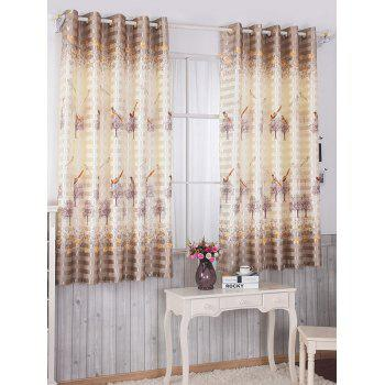 Birds Printed Window Screen Blackout Curtain