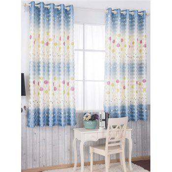 Grommet Top Blackout Curtain Panel Window Screen - BLUE 100*200CM
