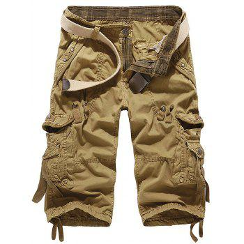 Drawstring Design Embroidered Cropped Cargo Pants