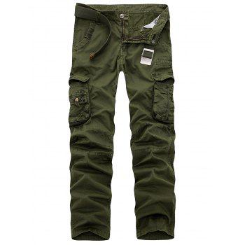Multi Pockets Zipper Fly Slimming Cargo Pants