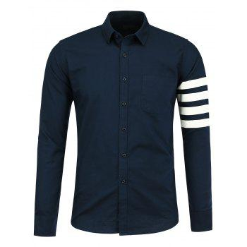 Long Sleeve Pocket Striped Shirt - CERULEAN CERULEAN