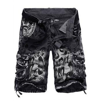 Tie Dye Graphic Print Applique Cargo Shorts