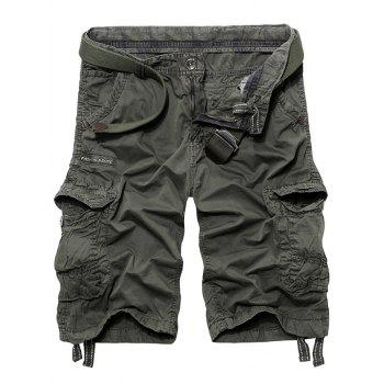 Graphic Print Pockets Drawstring Cargo Shorts