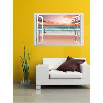 Removable 3D Seaside Sunset Fake Window Wall Sticker - PINK 50*70CM