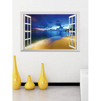 Fake Window 3D Seaside Night Wall Sticker