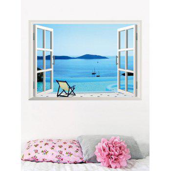 3D Seaside Swimming Pool Fake Window Wall Sticker
