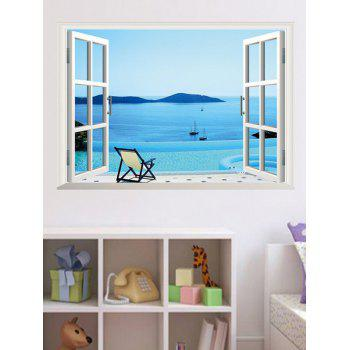 3D Seaside Swimming Pool Fake Window Wall Sticker - LAKE BLUE 50*70CM