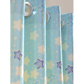 Cartoon Star Printed Grommet Top Blackout Curtain - BLUE 100*200CM