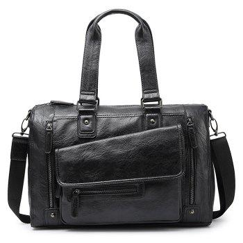 Faux Leather Zips Detail Tote Bag