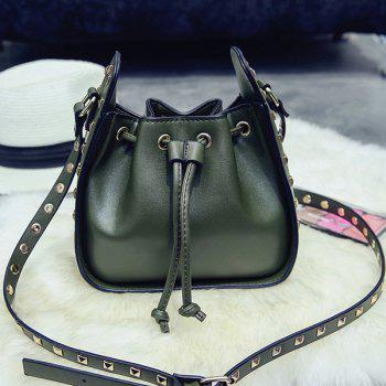 Rivet Drawstring Cross Body Bag