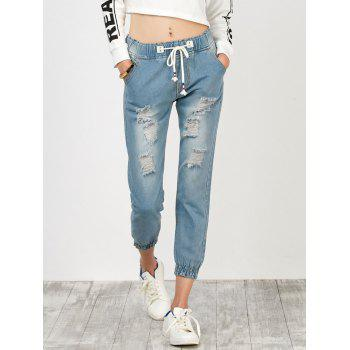 High Rise Distressed Drawstring Jeans