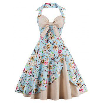 Halter Vintage Floral Print Pin Up Dress - APRICOT APRICOT