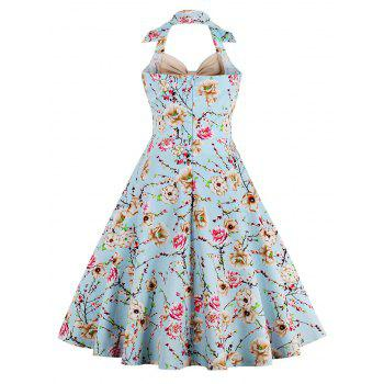 Halter Neck Floral Pin Up A Line Dress - APRICOT APRICOT