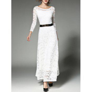 Belted High Waist Maxi Lace Dress