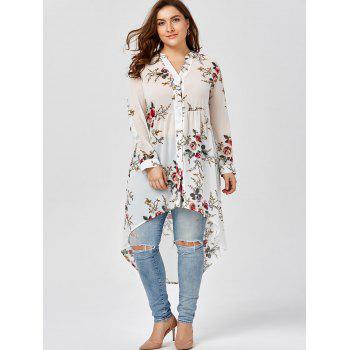 Chiffon Floral Plus Size Top - WHITE 3XL