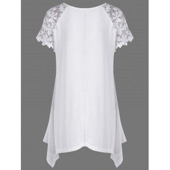 Raglan Sleeve Lace Trim Asymmetric Long T-Shirt - WHITE L