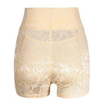High Waisted Lace Panties Boyshorts - YELLOWISH PINK 2XL
