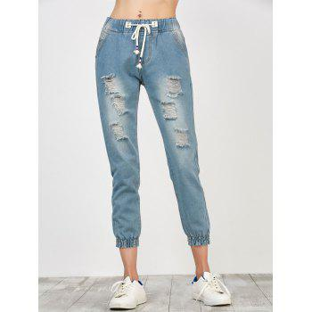 High Rise Distressed Drawstring Jeans - LIGHT BLUE S
