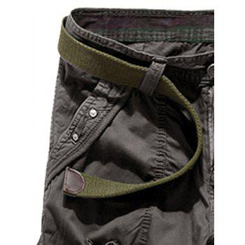Drawstring Design Embroidered Cropped Cargo Pants - DEEP GRAY 38